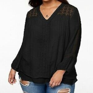 Style & Co Black Layered Hem Top Lace Accent 0X